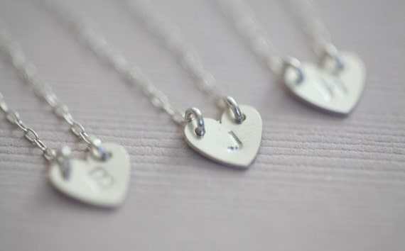bridesmaid necklace, bridesmaid gift set, heart necklace, initial necklace - sterling silver