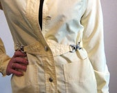 Vintage 70s Shirt Jacket // 1970s Yellow SAFARI Shirt Jacket Chunky Silver Buckle Hardware