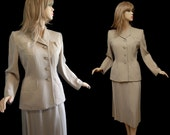 RESERVED FOR KERRY Vintage 40s Suit 1940s Bisque Gabardine Suit Classic Crawford Hourglass Jacket & Skirt