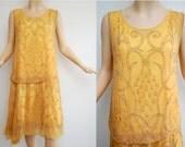 Vintage 20s Sunflower Yellow Hand Beaded Flapper Dress