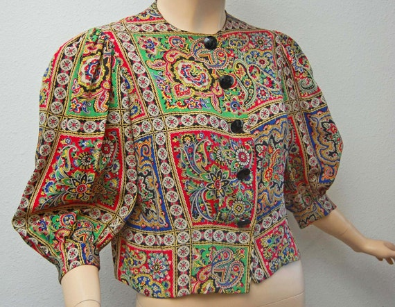 RESERVED Vintage 30s Blouse 1930s Rayon Paisley Top with Black Glass Faceted Buttons and Bishop Sleeves