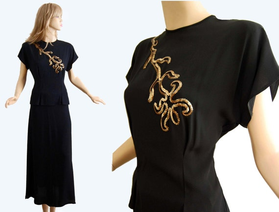 Vintage 40s Dress // 1940s Black Crepe Dress Top and Evening Skirt // Gold Sequin Embellishment