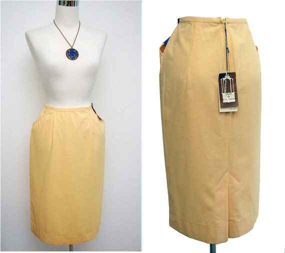 Vintage 60s Skirt // 1960s Pencil Skirt // Yellow Cotton Skirt NOS New with Tags XXS