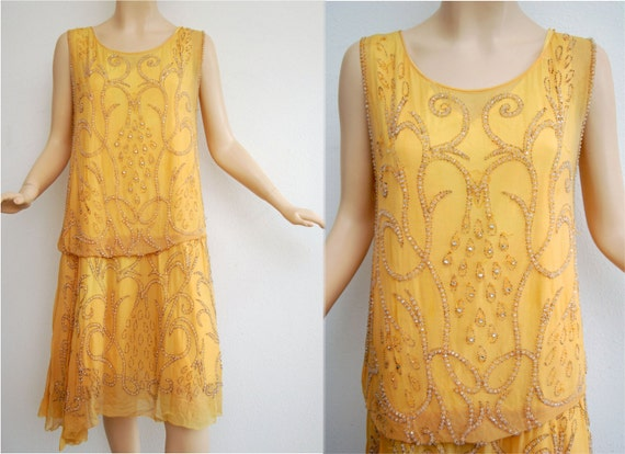Vintage 20s Sunflower Yellow Hand Beaded Flapper Dress