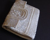 Vintage Sequinned and Beaded White Clutch