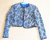 Vintage blue  beaded silk crop jacket