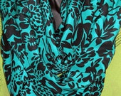 Teal Black Silk Fabric Infinity Scarf Hand Sewn by MCleodhandcraftgifts on Etsy