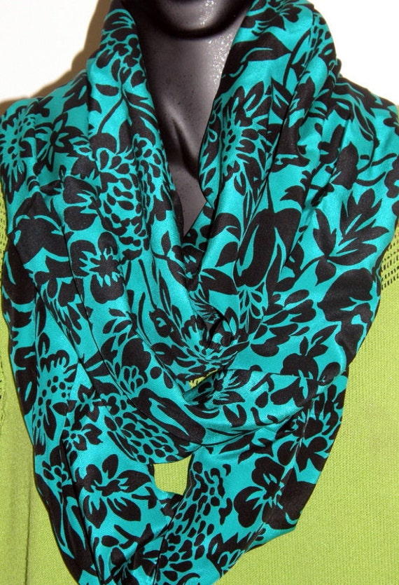 teal black silk fabric infinity scarf sewn by