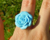 SALE and 100% DONATION to AHA // Baby Blue Rose Ring // Ring Garden Collection