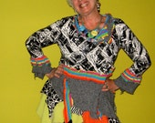 Black and White and multi color funky wearable art tunic recycled
