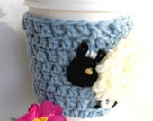 Sheep mug cup cozy coffee crochet pale blue