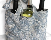Blue and Gray Floral Linen Shopping Tote