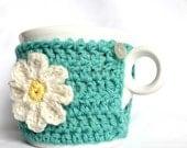 Daisy Mug Cozy, Cup Cosy, Mug Warmer Crochet aqua
