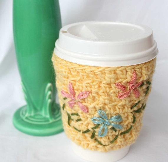 Lazy Daisy Crochet Cup Cozy