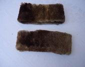 Salvage, Fur, Beaver Cuffs, Pair of Fur Cuffs, Rocker,  Vintage Clothing