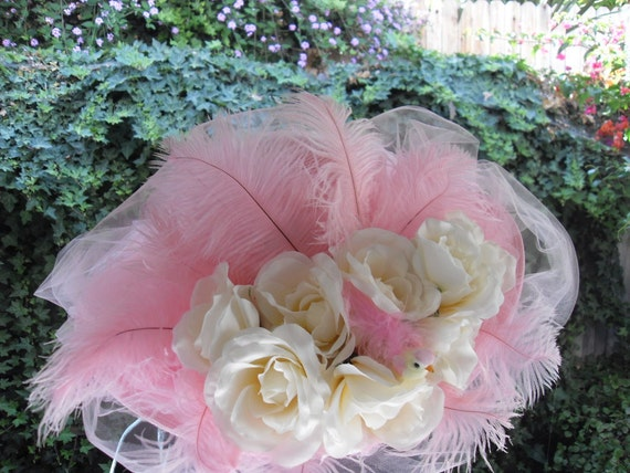 Pink Hat, White Roses, Wide Brim, Victorian Style, Kentucky Derby Hats