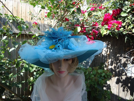 Teal, Turquoise Garden Party Hat, Kentucky Derby Hats, Mother's Day, Tea Party Hat