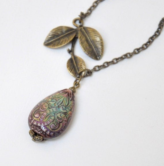 mood bead pendant necklace color changing jewelry leaf