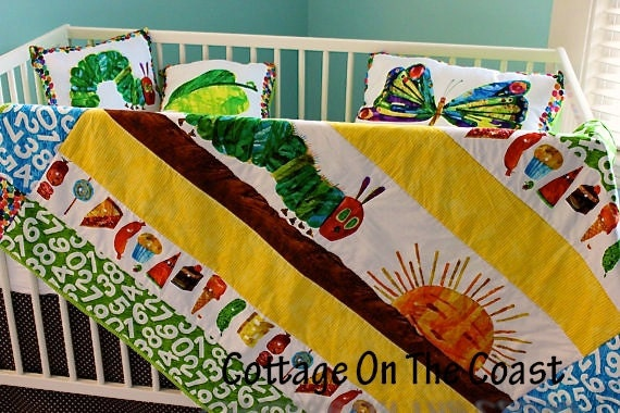 Heirloom Quilt and Pillows Set--Made With Very Hungry Caterpillar Fabric-- Quilt and Pillows Set