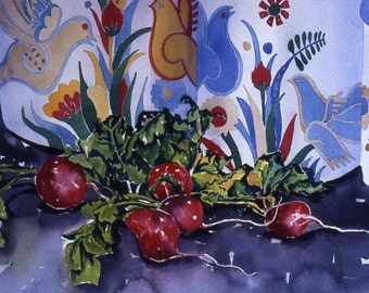 Original watercolor, radishes, art for the kitchen