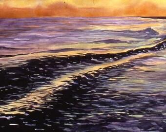 Original watercolor, Gulf Sunset, 22 x 32