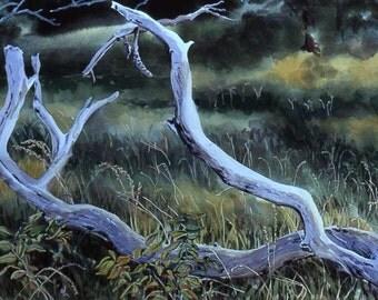 Original watercolor, Fallen Branch, 22 x 30