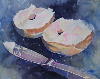 Original watercolor, 22 x 30, Breakfast Bagel