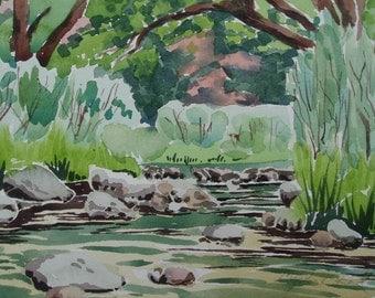 Original watercolor, Quiet Morning, 16 x 20