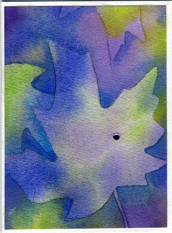 Watercolor card, 5 x 7, Maple Leaf