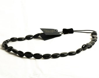 Black Stone Headband, Oval Stone Necklace, One Size Fits All