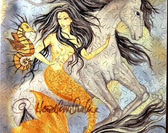 Hand Cut Wooden Mermaid Jigsaw Puzzle (238 pieces) with Plywood Storage Box