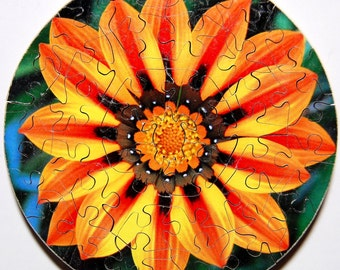 Circular Hand Cut Wooden Gazania Flower Jigsaw Puzzle (55 pieces) with Plywood Storage Box  --  FREE US SHIPPING