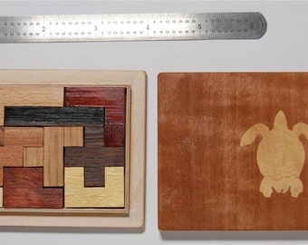 New Handmade Pentominoes Jigsaw Puzzle (12 hardwood pieces) in fitted Tray Puzzle Box --- FREE US SHIPPING