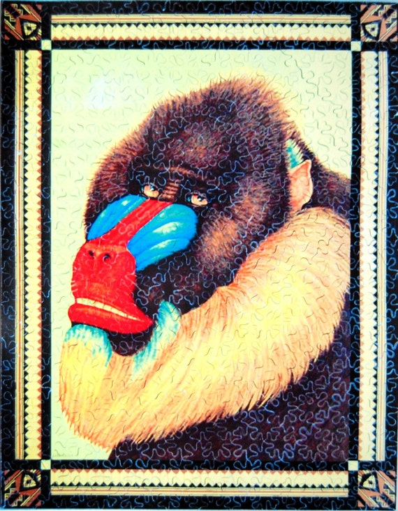 Hand Cut Wooden Mandrill Jigsaw Puzzle (388 pieces) with Plywood Storage Box