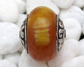 Amber copal resin sterling silver capped focal bead - 1 bead - BDMX