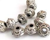 Large saucer shape Tibetan spacer beads - 4 beads