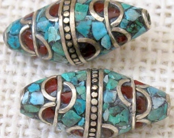 1 Bead - Nepal bicone shape brass bead with turquoise coral inlay Nepal - BD101