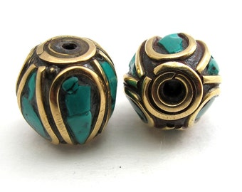 Drum shape brass beads with turquoise inlay from Nepal - 1 beads - BD069