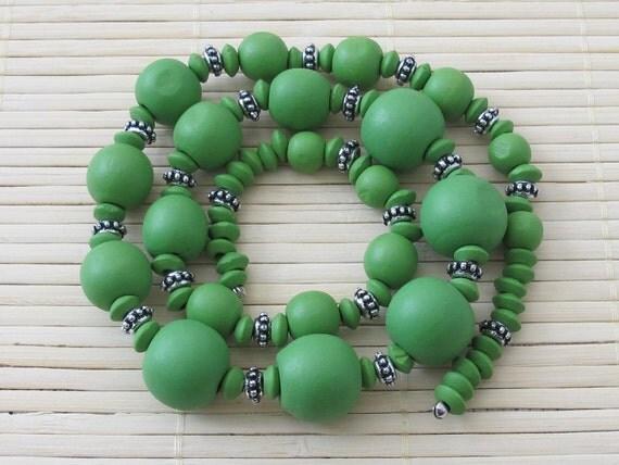 Green mix  wooden beads - strand