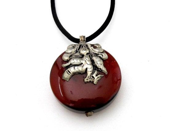 Tibetan sterling silver  Carnelian gemstone pendant