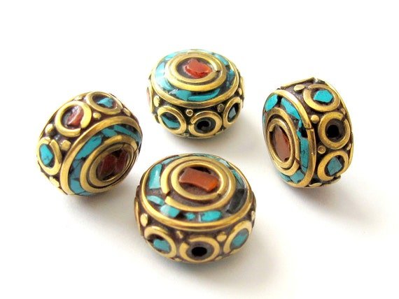 2 BEADS-Round brass disc Nepal beads with turquoise coral inlay -BD001