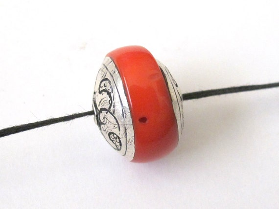 Tibetan coral bead capped with sterling silver -BD089