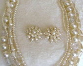 Vintage multi strand necklace and earring set