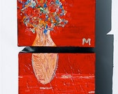Flowers in vase small art diptych
