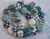 Turquoise Blue and White Kazuri Bead Necklace