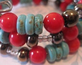 Memory Wire Bangle with Antique Gold Kazuri Beads, Reconstituted Turquoise and Red Coral