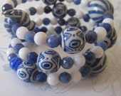 Blue and White Porcelain Memory Wire Bangle with Semi Precious Stones