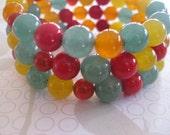 Semi Precious Stone Memory Wire Bangle in Citrus colours