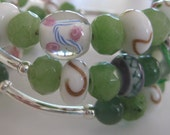 Memory Wire Bracelet with Lampwork Beads, Glass Beads, Silver Plated Beads and Semi Precious Stones