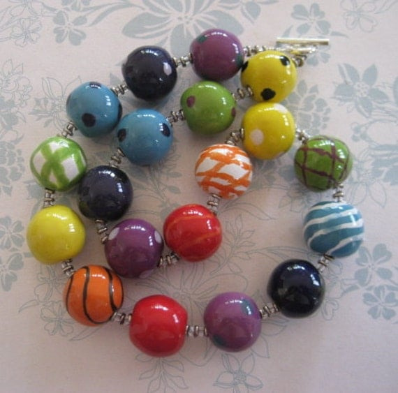 Bead Necklace, Rainbow Kazuri Beads, Colorful and Vibrant
